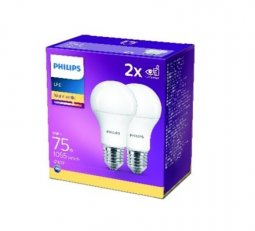 Philips LED žárovka sada 2ks 10-75W E27 1055lm A60 4000K
