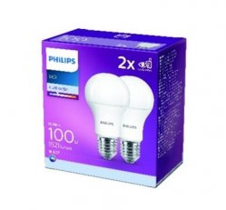 Philips LED žárovka sada 2ks 12-100W E27 1521lm A60 4000K