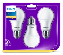 Philips LED žárovka sada 3ks 7-60W E27 806lm A60 2700K