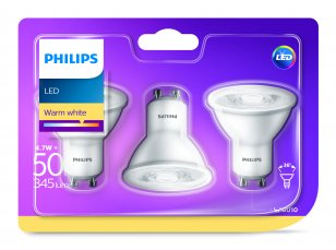 Philips LED žárovka sada 3ks 4,5-50W GU10 345lm 2700
