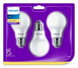 Philips LED žárovka sada 3ks 10,5-75W E27 1055lm A60 2700