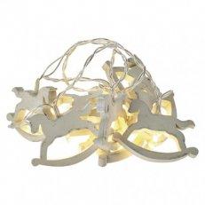 LED vánoční girlanda - koně, 2xAA, teplá bílá, časovač